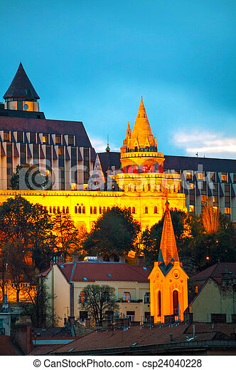 Fisherman bastion in Budapest, Hungary - csp24040228