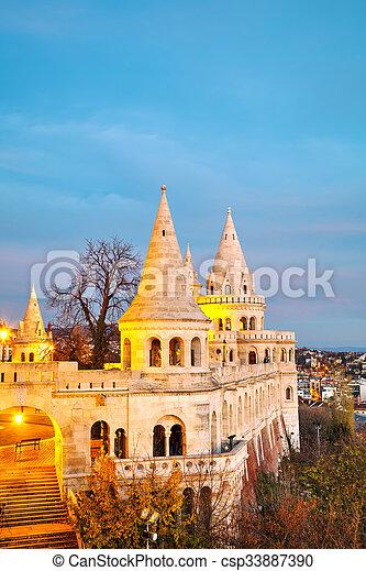 Fisherman bastion in Budapest, Hungary - csp33887390