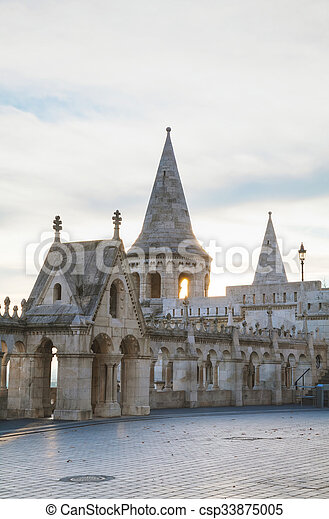 Fisherman bastion in Budapest, Hungary - csp33875005