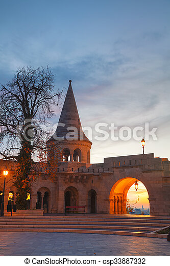 Fisherman bastion in Budapest, Hungary - csp33887332