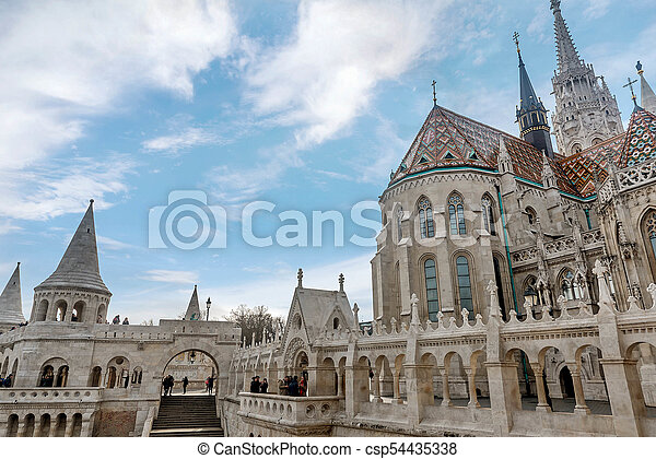 Fisherman Bastion in Budapest, Hungary - csp54435338