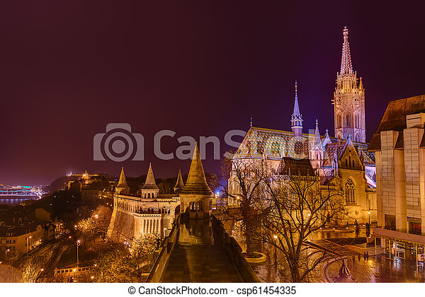 Fisherman Bastion in Budapest Hungary - csp61454335