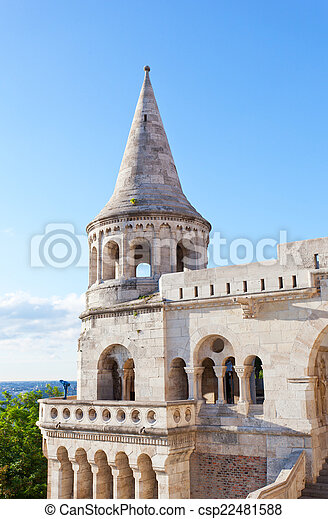 Fisherman Bastion on the Buda Castle hill in Budapest, Hungary - csp22481588