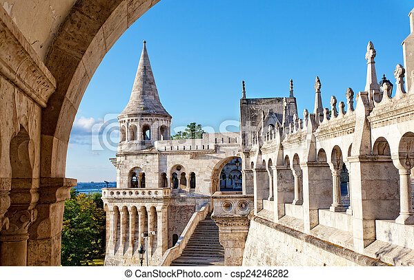 Fisherman Bastion on the Buda Castle hill in Budapest, Hungary - csp24246282