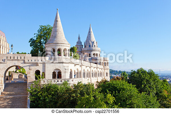 Fisherman Bastion on the Buda Castle hill in Budapest, Hungary - csp22701556