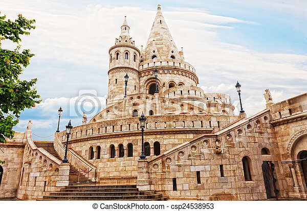 Fisherman Bastion on the Buda Castle hill in Budapest, Hungary - csp24538953