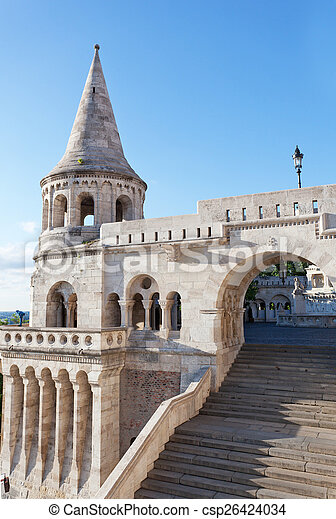 Fisherman Bastion on the Buda Castle hill in Budapest, Hungary - csp26424034
