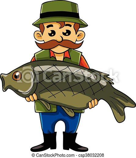 Fisherman carrying big fish cartoon vector fisherman carrying big fish csp38032208 thecheapjerseys Choice Image