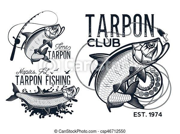 Fisherman dream. Vintage tarpon fishing emblems, labels ...