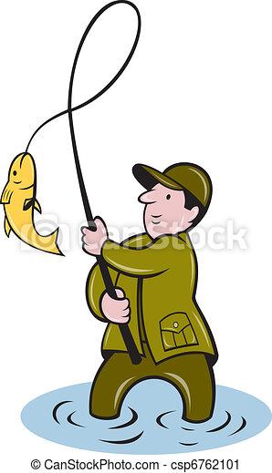 fisherman fly fishing reeling fish - csp6762101