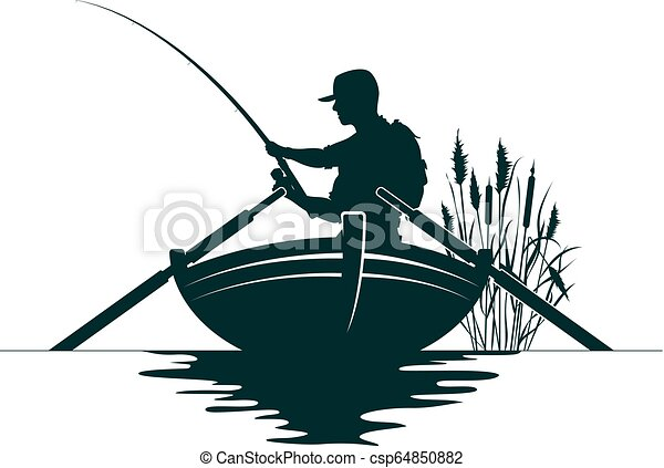 Fisherman In A Boat And Reeds Fisherman With A Fishing Rod In The Boat And Reeds