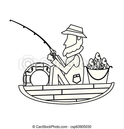 Fisherman In Boat In Black And White Fisherman In Wooden Boat Vector Illustration Graphic Design