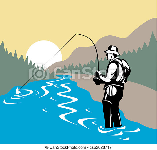 Fisherman in river with fly rod side view - csp2028717