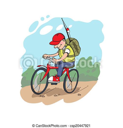 Fisherman on a cycling - csp20447921