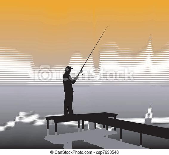 Fisherman on a pier - csp7630548