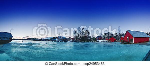 Fisherman village at winter - csp24953463
