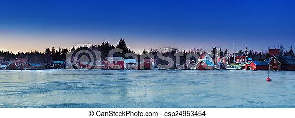 Fisherman village at winter - csp24953454