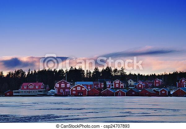 Fisherman village at winter - csp24707893