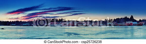 Fisherman village at winter - csp25726238