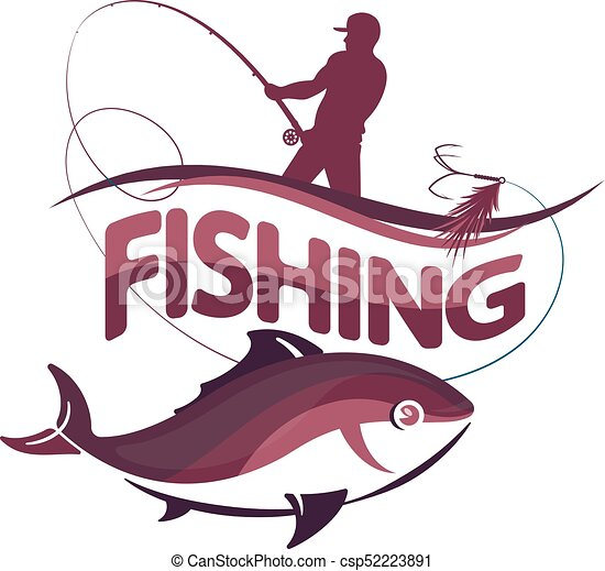 fisherman with a fishing rod and fish a fisherman with a eps rh canstockphoto com fishing rod clipart free fishing rod and hook clipart