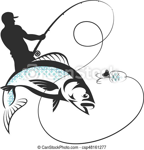 Fisherman With A Fishing Rod And Fish Fisherman Catches
