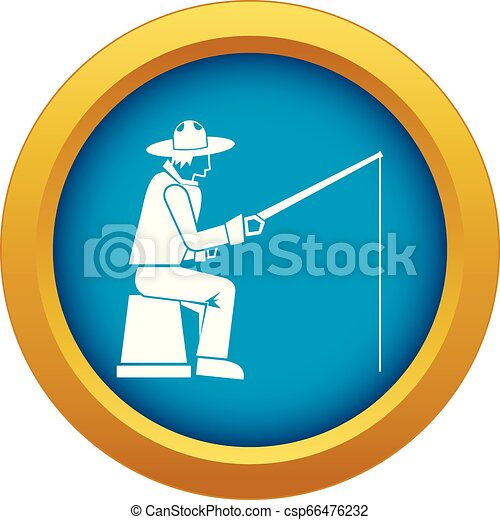 Fisherman with a fishing rod icon blue vector isolated - csp66476232