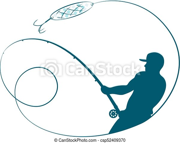 fisherman with a fishing rod silhouette fisherman with a vectors rh canstockphoto com fishing rod and reel clipart bent fishing rod clipart