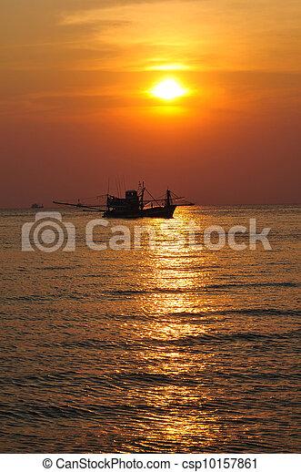 fisherman's , βάρκα , ηλιοβασίλεμα  - csp10157861