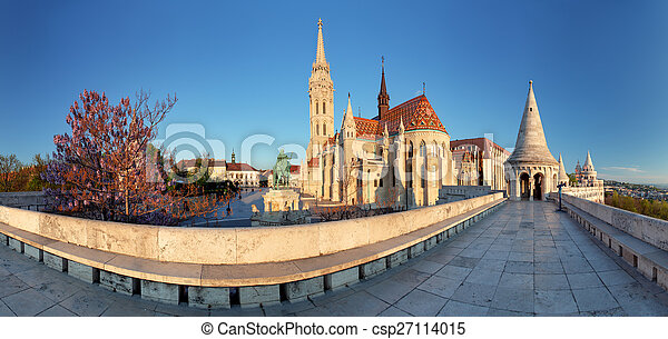 Fishermans Bastion and church in Budapest, Hungary - panorama - csp27114015