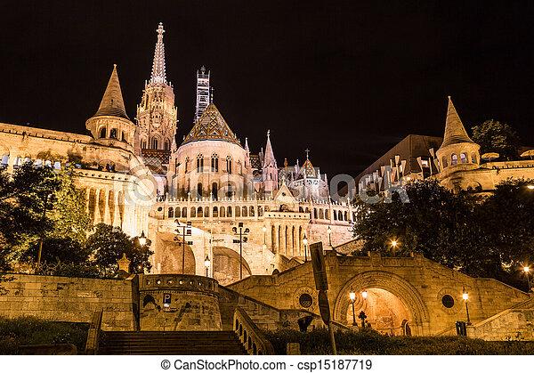Fisherman's bastion night view, Budapest, Hungary - csp15187719