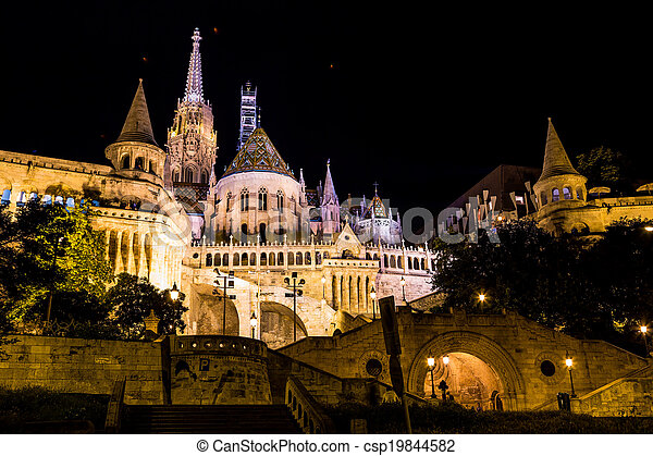 Fisherman's bastion night view, Budapest, Hungary - csp19844582