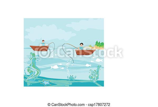 fishermen and fishing boat - csp17807272