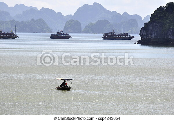 Fishermen in Halong Bay - csp4243054