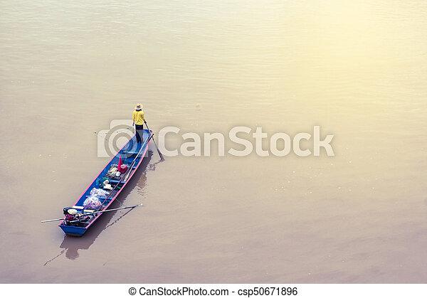 Fishermen in the boat. - csp50671896