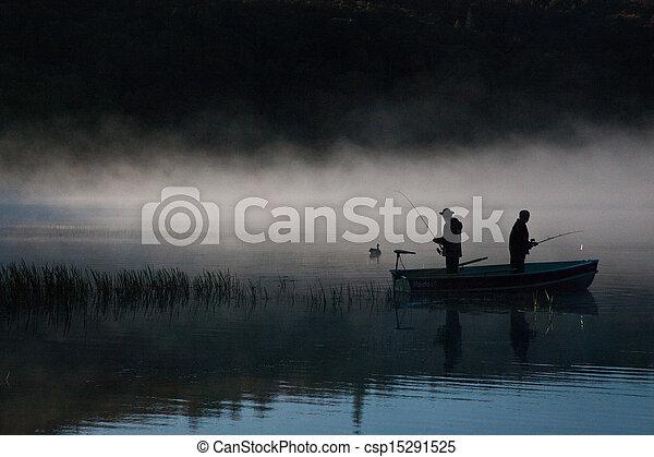 Fishermen in the fog - csp15291525