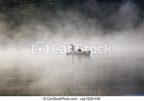 Fishermen in the fog - csp15291435