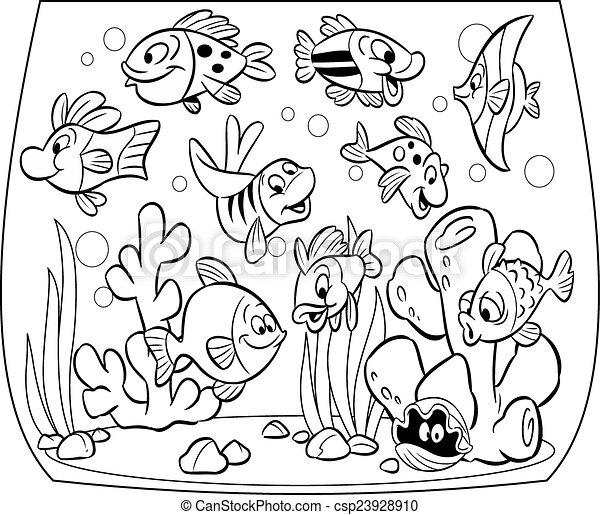 fish aquarium decorations coloring pages | Fishes in aquarium. Funny cartoon fish swim in an aquarium ...