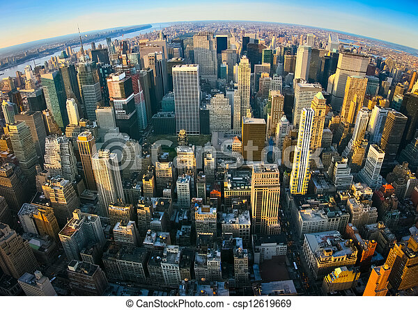 Fisheye aerial panoramic view over New York - csp12619669