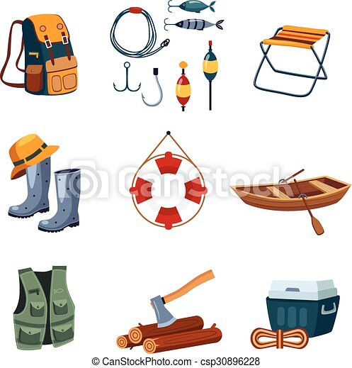Fishing And Camping Equipment In Flat Design Vector Illustration Set