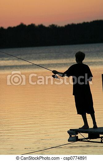 Fishing at Sunset - csp0774891