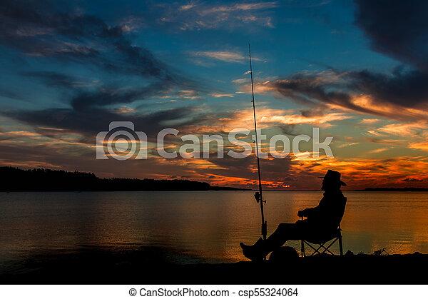 Fishing At Sunset - csp55324064