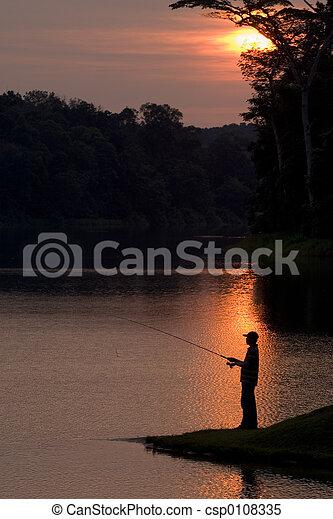 Fishing At Sunset - csp0108335