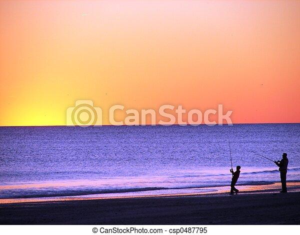Fishing at Sunset - csp0487795