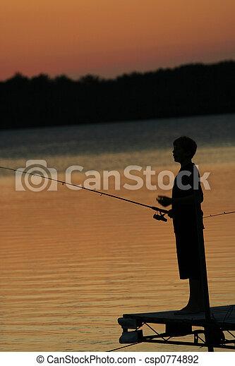 Fishing at Sunset - csp0774892
