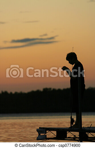 Fishing at Sunset - csp0774900