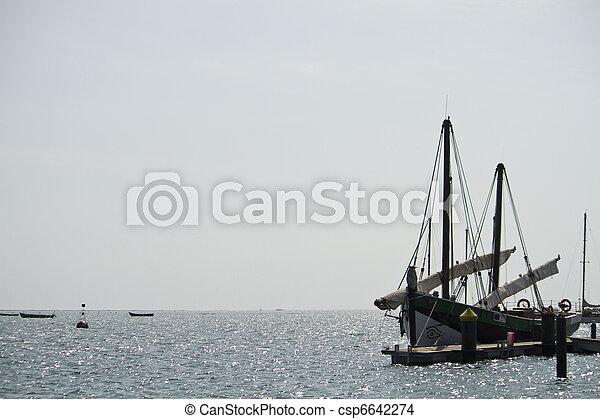fishing boat anchored - csp6642274