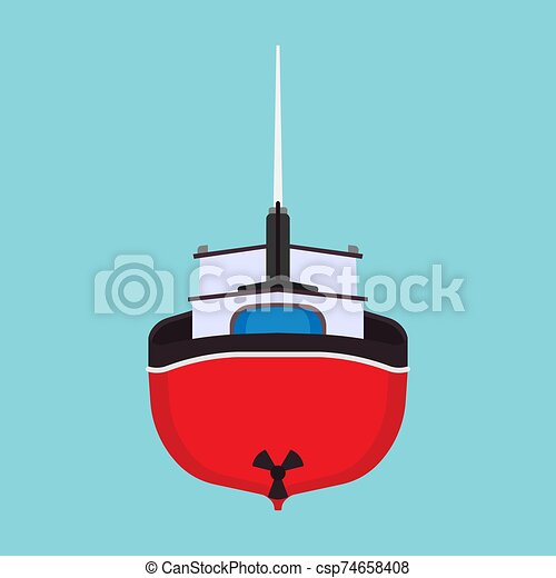 Fishing boat back view vector icon. Sea ship water marine vessel transport isolated. Sail flat commercial cartoon offshore tanker - csp74658408