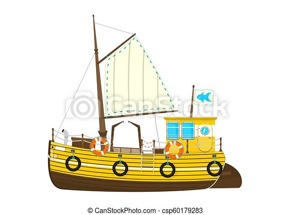 Fishing Boat Cartoon Retro Fishing Boat On The White Background Side View Flat Vector