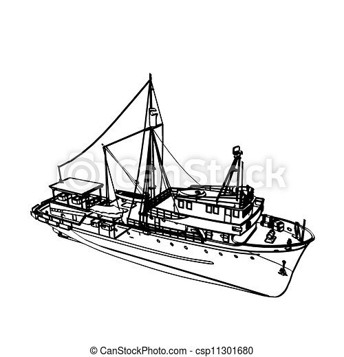 Motor fishing boat isolated on white vector illustration for How to draw a fishing boat