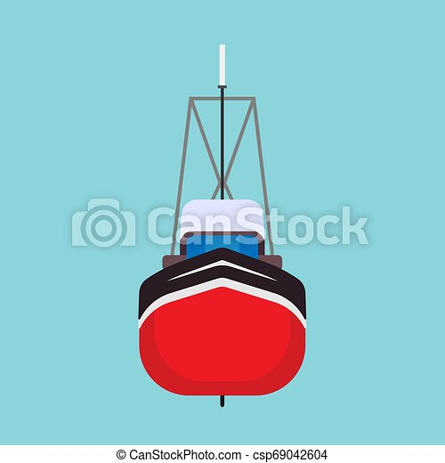Fishing boat front view vector icon. Sea ship water marine vessel transport isolated. Sail flat commercial cartoon offshore tanker - csp69042604